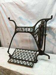 Antique Singer Treadle Sewing Machine Cast Iron Base Parts Wheel And Pedal