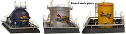 Lionel 3 Sunoco Gas Cylindrical And Spherical Oil Tank Set Illuminated New In Box