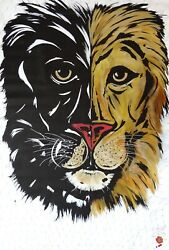 Art Painting Lion Cecil . Original By Artist . Beautiful . 2018 . New