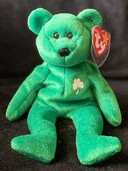 Rare, Retired Ty Beanie Baby Erin With Protective Tag Cover, Excellent Condition