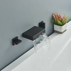 Wall Mount Bathroom Waterfall Faucet 2 Handle Bathtub Faucet Oil Rubbed Bronze