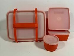 Tupperware Pack N Carry Lunch Box Set 1254 Sandwich Keeper Snack Container Red
