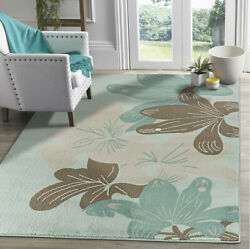 Floral Area Rug Blue Brown Cream Flower Carpet Stylish Large Space Oversize Rugs
