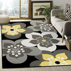 Floral Area Rug Black Grey Top Quality Flower Carpets Oversize Rugs On Sale New