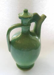 Red Wing Art Pottery Ewer Pitcher And Lid Celadon Green 52 Rare Novelty Jug