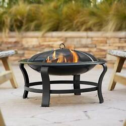 Black Iron Outdoor Fire Pit Round 30 Steel Wood Burning Outside Backyard Patio