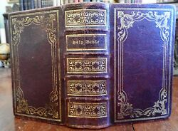Holy Bible Old And New Testament 1838 Lovely Decorative Gilt Full Leather Binding