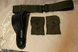 Us Military Issue Vietnam Era 1911 Leather Pistol Holster 2 Mag Pouches Belt P8