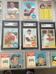 1968 Topps Partial Set Of 132 Cards 103 Graded Psa Sgc Mickey Mantle Rose Yaz