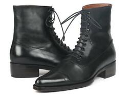 Paul Parkman Mens Shoes Boots Black Goodyear Welted Leather Handmade Cw477-blk