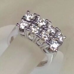 1.65ct Genuine Diamond Two Row Wedding Band Vintage Ring Solid 14k White Gold