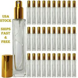 Empty Perfume Glass Tall Bottles 50ml Top Quality Gold Atomizer Spray Refillable