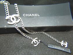 Authentic Cc Logo Silver With 3 White Charms Chain Belt Or Necklace