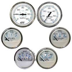 Faria Chesapeake White W/stainless Steel Bezel Boxed Set Of 6 - Speed Tach