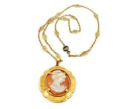 Antique Vintage 18k Yellow Gold Filigree Carved Shell Cameo Pendant Necklace 18