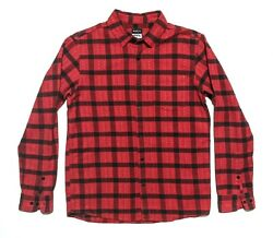 Rvca No Wave Mens M Long Sleeve Button Up Flannel Shirt Red Plaid Euc