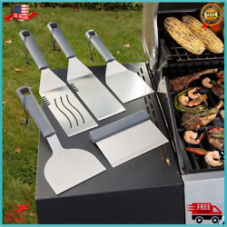 Stainless Steel Bbq Tool Set Spatula Turner Scraper Griddle Grill Tools 5-piece
