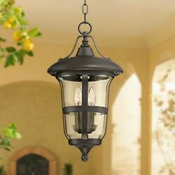 Outdoor Ceiling Light Hanging Lantern Bronze 19 Seedy Glass For Porch Patio