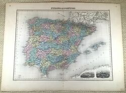 1903 Antique Map Of Spain Portugal Madrid Lisbon Old Hand Coloured Engraving