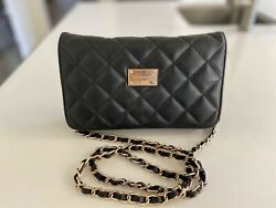 St John Quilted Leather Black Cross Body Bag Wallet On Chain
