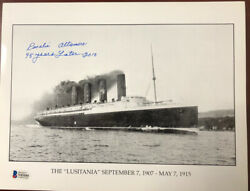 Photo Of Rms Lusitania Signed By Rosalie Altamore Beckett Cert.