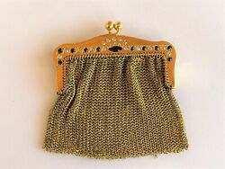14k Gold Diamond And Sapphire Vintage Mesh Coin Purse