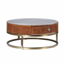 Round Metal Coffee Table With Airy Design Base Small Multicolor