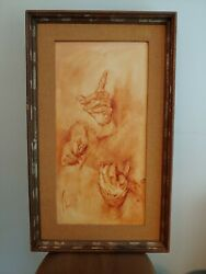 Anelli Oil On Canvas Painting Hands 1960-70and039s From Italy The W T Burger Co.