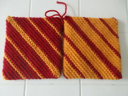 2 New Handmade Hot Pads, Trivets, Pot Holders, Cyclones, Gold And Cardinal Red