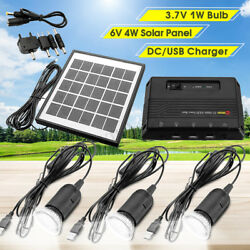 4w Solar Power Panel Usb Charger Emergency Led Light Home System Kit Home ❤
