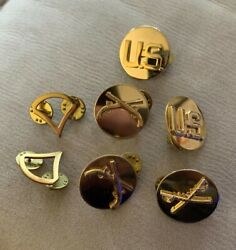 Us Army Pin Badge Lot 7 Sword And Gun Collar Shoulder Chest United States Brass