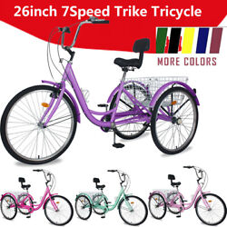 26and039and039 7speed Trike Tricycle 3-wheel Bike Bicycle +folded Basket+backrest +tool