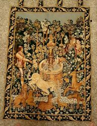 French Medieval Floral Tapestry Wall Hangings By Goblins Tapestry Paris 34x45