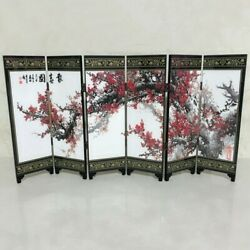Wood Freestanding Room Divider 6 Pieces Folding Partition Privacy Screen Decors