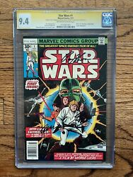 Star Wars 1 Cgc 9.4 Ow-w Pages - Newstand - 3x Signed Stan Lee, Thomas, Chaykin