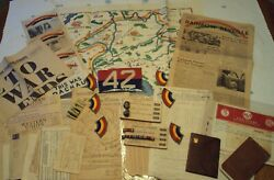 Rare 1940and039s Wwii 42nd Rainbow Division Us Armyoriginal Hysterical Mappaper Lot