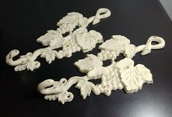 2 Grapevine Cast Iron White Rustic Distressed Wall Hanging Hooks