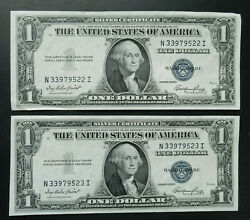 1 Series 1935 E 2 Consecutive Serial Numbers. Unc. Silver Certificates