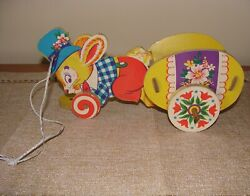 Vintage Heavy Cardboardand Wood Bunny Easter Egg Pull Toy Wagon Dolly Toy Company