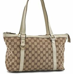 Auth GUCCI Abbey GG Shoulder Tote Bag Canvas Leather Brown Beige White C7873 $209.00