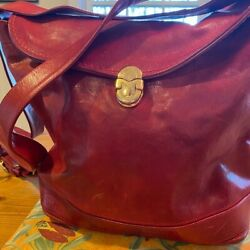 Marino Orlandi Red Bucket Converts to Sling Leather Bag Large Made in Italy $56.00
