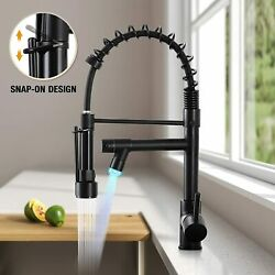 Commercial Led Kitchen Sink Faucet Pull Down Sprayer Single Handle Swivel Spout
