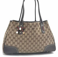Authentic GUCCI Web Sherry Line Tote Bag Canvas Leather 163805 Brown C8151 $218.50
