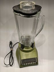 Vintage Waring Solid State Electric Blender Avocado 1965 Glass Pitcher Tested
