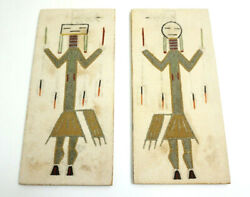 Navajo Sand Paintings Signed Night Chant By A Toledo In New Mexico Pair Set