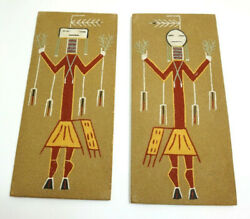 Pair Of Navajo Sand Paintings Signed Night Chant By A Toledo In New Mexico
