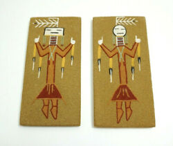 Set Of Navajo Sand Paintings Signed Night Chant By A Toledo In New Mexico Pair