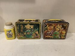 Vintage 1979 Jim Hensen Muppets Metal Lunch Box And Thermos Lot