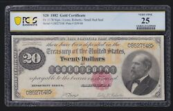 Us 1882 20 Gold Certificate Fr 1178 Pcgs 25 Vf -548 Nice Color