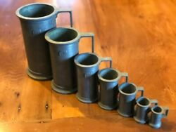 Antique Italian Peltrato 95 Pewter Meausuring Cup Tankards Lot Of 7